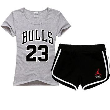 Jordan NIEK Women Men Fashion Print Cotton Sport Shirt Shorts Set Two-Piece Sportswear