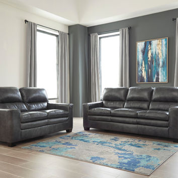 2 pc Gleason collection charcoal leather match upholstered sofa and love seat set with squared arms