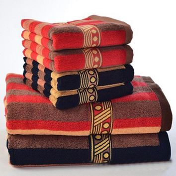 Adults Bohemiam 100% Cotton Striped Elegant Decorative Terry Bath Towel Sets
