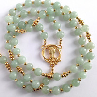 Catholic Rosary, Gold Crucifix, Legend of the Dogwood Tree, Green Aventurine Beads, Religious Gift, Prayer Beads