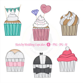 Sketchy Wedding Cupcakes Clipart,invitations clipart,wedding clipart,digital download-BUY 1 GET 1 FREE! Use Code: 1GET12016