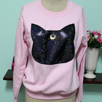 Sailor Moon Inspired Rainbow Holographic Minimalist Luna Oversized Sweatshirt