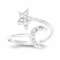 Sterling Silver Polished Star And Moon With CZ Ring