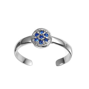 Sterling Silver Round Flower 6MM  Toe Ring/ Knuckle/ Mid-Finger CZ Sapphire CZ