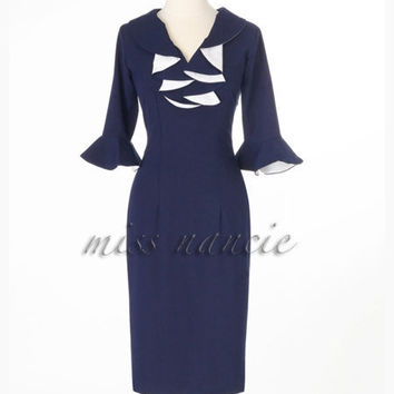 Mad Men Reproduction Joan dress wiggle style 50s by missnancie