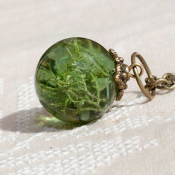 Pendant green ball with dried moss, placed in a transparent resin.