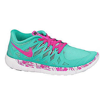 Nike Girls' Free 5.0 Tropical-Print Running Shoes - Menta/Green Glow/B