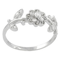 Tressa Sterling Silver Flower and Leaves CZ Ring | Overstock.com