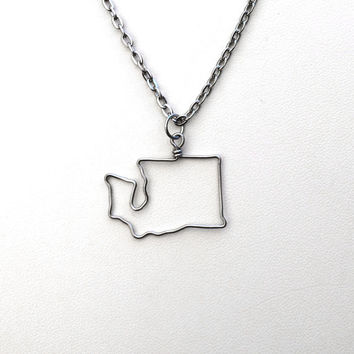 State Necklace // Choose Any State Country City Province Island  // Wire Outline // Silver or Gold // Washington