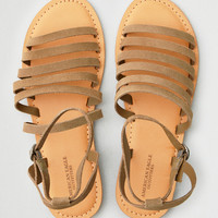 AEO Thin Multi Strap Suede Sandal, Taupe