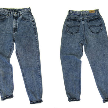 "80s High Waist Jeans Stone Wash Ink Blue Black Denim Jeans Tapered Mom Jeans Hipster Grunge Street Wear Punk Jeans Womens Small 26"" Waist"