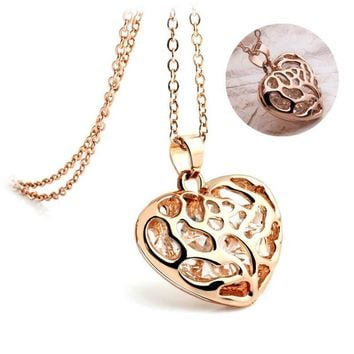 42CM Gold & Silver Crystal Rhinestones Heart Pendant Necklace Hollow Necklace