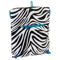Drawstring Backpack Zebra Turquoise Blue Trim:Amazon:Clothing