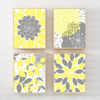 YELLOW Gray Wall Art Canvas or Prints Floral Bedroom Pictures, Yellow Gray Bathroom Decor, Succulent KITCHEN Wall Art, Set of 4 Home Decor
