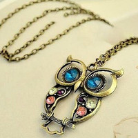 Big Eye Rhinestone Owl Necklace