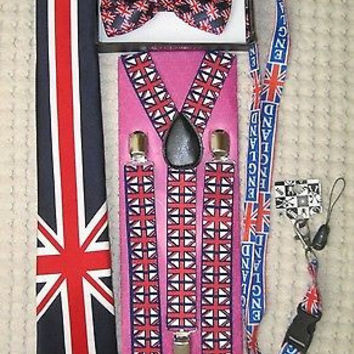 UK British Flag Y-Back Suspenders,UK Lanyard,UK Neck Tie & UK British Bow Tie-28