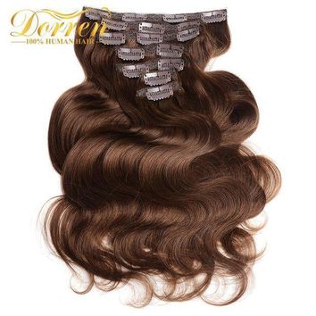 PEAP78W Doreen26inch Clip In Human Hair Extensions Body Wave 160G Thicker Chocolate Brown 10 Pieces/Set Brazilian Remy Hair Extensions