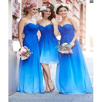 Fashi Sexy Ruffled Bridesmaid Dresses Cheap Women Special Occasion Dresses Ombre Dress Lily Collins Prom Dresses