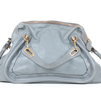 Chloe Grey Leather Paraty Bag