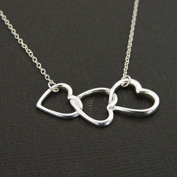 Mother39s day infinity necklace from kestjewelry on etsy triple heart necklace 3 heart necklace family grandmother mother and child sisters aloadofball Images