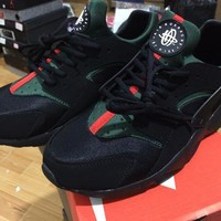 with box 2017 new high quality air huarache shoes mens womens running gym trainers black green training Sneakers Chaussure Hurache Custom