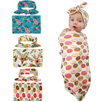 Newborn Swaddle Sack set Cocoon Sleep Sack Blanket with Headband donut design outfit Photo Props Cotton headwrap 1set HB112
