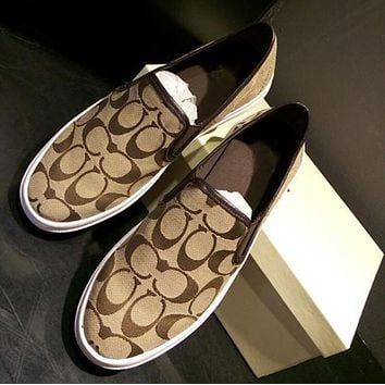 187700a50 Coach Old Skool Casual Logo Pattern Canvas Flats Sneakers Sport