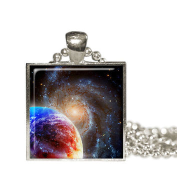 Space Pendant Necklace, Galaxy necklace  Planet Pendant Stocking Stuffer Gift, Astronomy gift for her