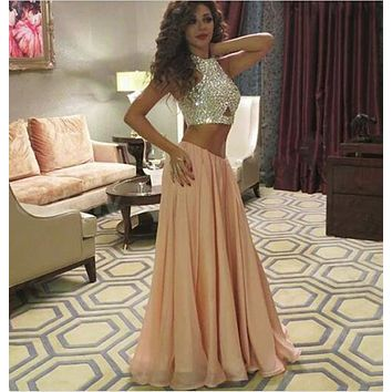 vestidos de gala 2017 Fast Shiping Arabia Sparkly Crystal O Neck A-line Chiffon Party Gowns Floor Length Two Pieces Prom Dresses