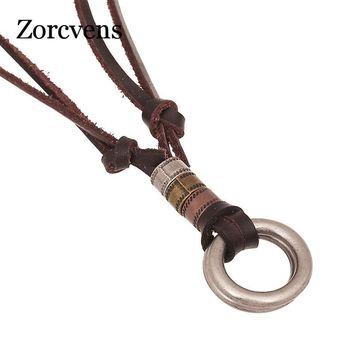 ZORCVENS Genuine Brown Leather Cord Men Necklace Double Alloy Circle Charm Pendant Necklace Choker Punk Jewelry collier ethnique