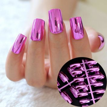 New 24 pcs Metal Hot Pink Rose Fake Nails Charming High Quality Full Cover Long Nail Manicure Kawaii False Nail N03