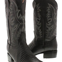 Men's New Black Exotic Lizard Design Genuine Leather Cowboy Boots Rodeo Round