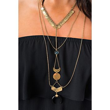 Lake Multi Tier Necklace (Antique Gold/Black)