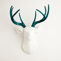 Faux Taxidermied - The Jackson - White W/ Turquoise Glitter Antlers Resin Deer Head- Stag Resin White Faux Taxidermy