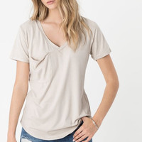 "Z Supply ""The Suede Pocket Tee""- Ivory"