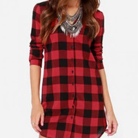 Plaid Long Sleeve Tunic Shirt Top