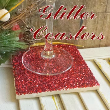 Drink Coaster, Red Glitter Handmade Ceramic Tile Coasters, Sparkly Holiday Decor, Christmas Decor or Gifts, Wedding Party Favors