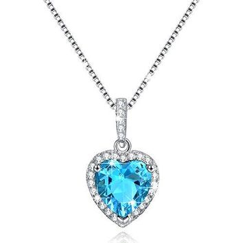 "AUGUAU ""Shape Of My Heart"" Sterling Silver 12 Months Heart Necklace Created Birthstone - Valentine's Day Gifts"