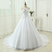 Womens Quality A Line Organza Bridal Gown Sweetheart Ruffles Wedding Dress