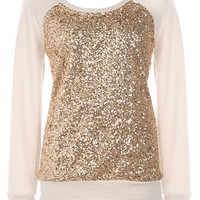 Shine Bright Sweater | Cream Gold Long-Sleeve Sequin Tops | Rickety Rack