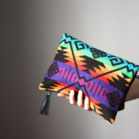 Leather fold over clutch, fold over  bag, fold over purse, Pendleton wool and leather clutch with leather charm