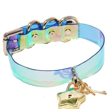 Star Locket Blue Holographic Iridescent Choker