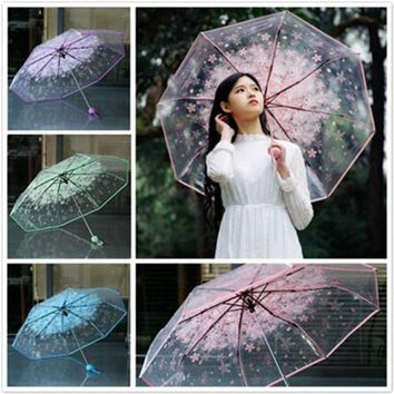 1pc three Fold Umbrella Women Transparent Clear Cherry Blossom Mushroom Apollo Sakura folding Sunshade Rain Umbrella 2018