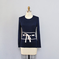 vintage VALENTINO dark blue ribbed knit top w/ belt S M