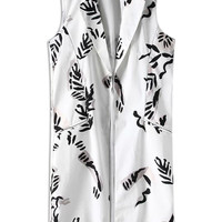 Black and White Leaf Print Vest