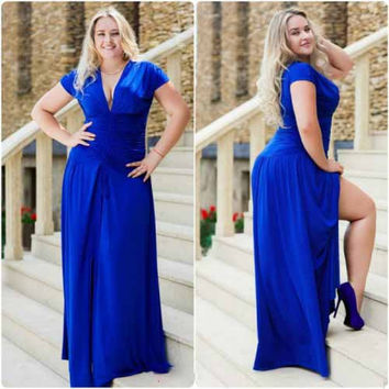 Dmart7deal  Plus Size L - 6XL New Fashion CASUAL Losse solid SLEEVEless Natural Waistline v-neck floor LENGTH Women summer Dress