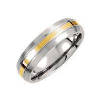 Men'S Titanium and Gold Inlay 6mm Satin Domed Wedding Band: Titanium and 14k Gold Polished Gold Inlay Wedding Ring