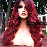 USA // 20% off SALE! Human Hair BLEND Wine Red Swiss Lace Front & Part Long Wavy Wig w/ Dark Root
