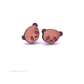 Panda Earrings Cute Bamboo Stud Earrings Laser Cut Wood Wooden Studs Posts Fun Animal Jewelry Gifts For Friends Teens Girls Sister Niece Her