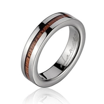 GENUINE INLAY HAWAIIAN KOA WOOD WEDDING BAND RING TITANIUM 4MM SIZE 3-14